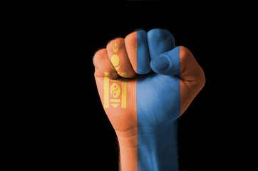 Fist painted in colors of mongolia flag