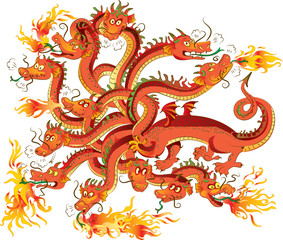 Dragon with twelve heads, vector illustration