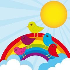 Poster de jardin Oiseaux, Abeilles rainbow and birds
