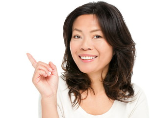 Pointing showing Asian mature woman