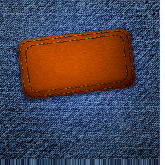 Leather label on jeans background. Vector.