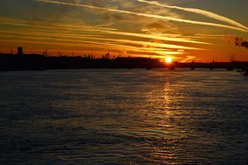 Neva river at sunset, St.Petersburg