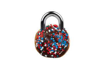 Diet Concept Chocolate Donut as Padlock