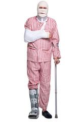 Injured man walking on crutches