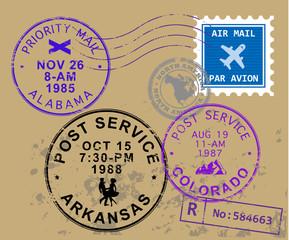 Set of USA post stamp symbols, vector illustration