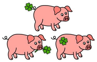 glücksschweine mit kleeblatt