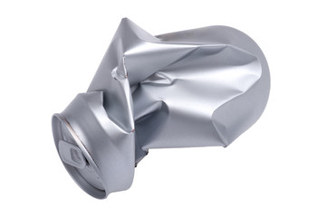 Crumpled beverage can isolated
