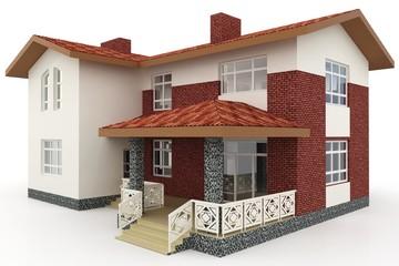 3d house on white