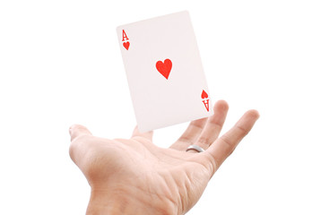 Floating Ace of Hearts in Hand