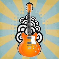 Vector  retro background with electric guitar and rays