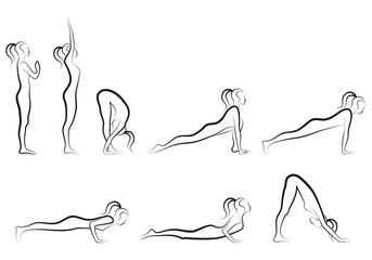 yoga sun salutation set, vector
