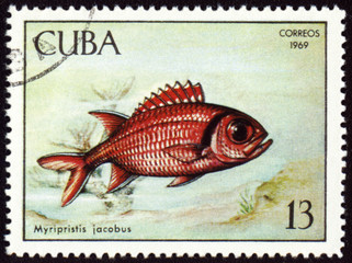 Fish Myripristis jacobus on post stamp