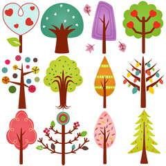 A vector collection of Retro Trees isolated on white