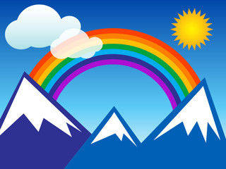 Summer landscape with rainbow and mountain, vector