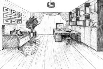 Graphical sketch of an interior apartment