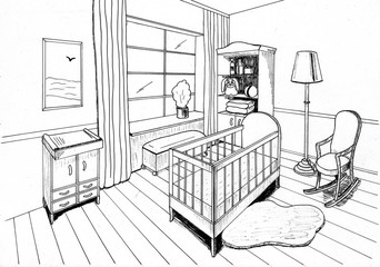 Graphical sketch of an interior childroom, liner