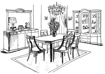 Graphic sketch,  living room, liner