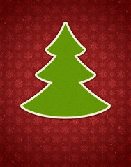 Christmas applique with tree vector background