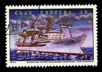 CUBA,  Barco de invebtigaciones cosmicas Yuri Gagarin,  1973