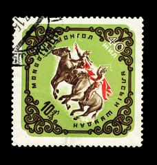 MONGOLIA, shows Horsemen on horses,  circa 1965