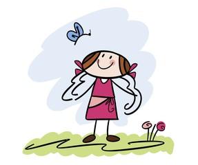 Cartoon-Zeichnung: Mädchen mit Schmetterling