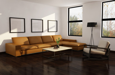 Modern autumn interior living room, wood floor trees view