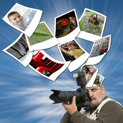 Ideas en forma de fotografía saliendo de la cabeza.