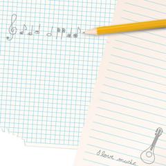 gekritzel auf papier - musiknoten