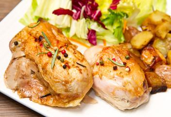 pollo arrosto con contorno