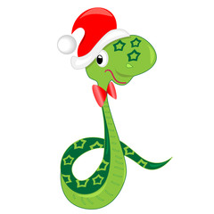 snake celebrating christmas. vector illustration.isolated