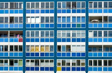 Blue facade of an GDR apartment building