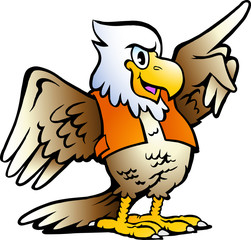 Hand-drawn Vector illustration of an Pointing Eagle