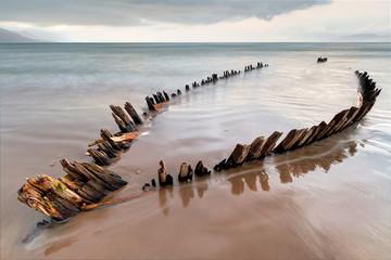 Wall Murals Shipwreck The Sunbeam ship wreck on the Rossbeigh beach, Ireland