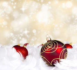 Christmas balls with abstract snowy background