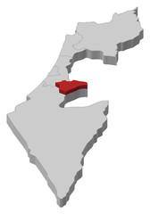 Map of Israel, Jerusalem highlighted