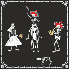 Amusing skeletons on wedding