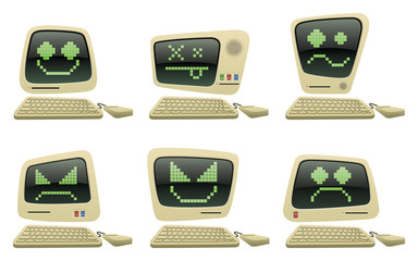 Retro Computer Icon Set with Faces