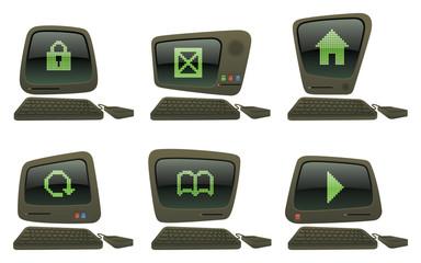 Symbols Retro Computer Icon Set