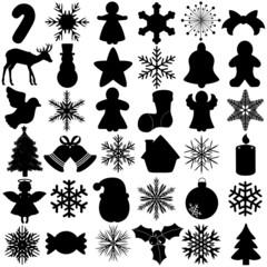 Vector Silhouette of Snowflake Christmas Festival symbol