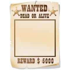 Wanted Dead or Alive Poster-Ricercato Vivo o Morto-2-Vector