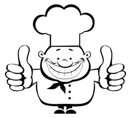 Cartoon smiling chef showing thumbs up. Separate layers.