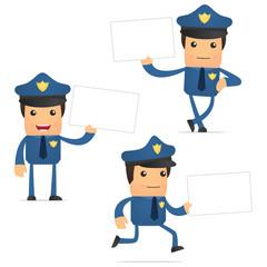 set of funny cartoon policeman