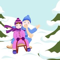children ride in a sleigh