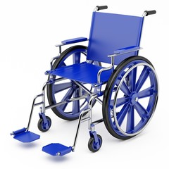Blue wheelchair on a light background