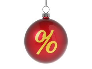 Christmas ball with percent symbol