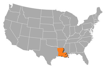 Map of the United States, Louisiana highlighted