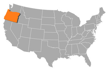 Map of the United States, Oregon highlighted