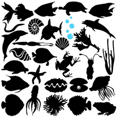 A Vector Silhouette of Fish, Sealife, (Marine life, seafood)