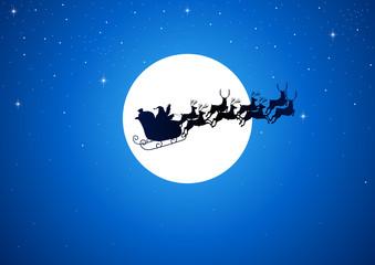 Santa Claus riding his sleigh over the moon