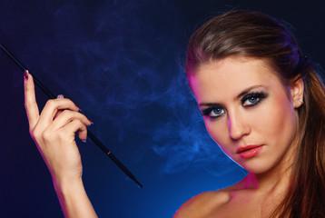Beautiful woman smoking cigarette